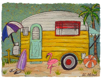 Beach Camper-PRINT matted to fit 11x14 frame