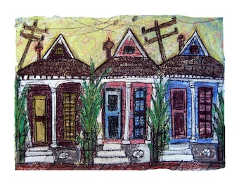 Threes Company New Orleans Shotgun Houses- MATTED PRINT