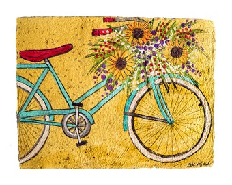 Sunflower Bike- PRINT-matted in white to fit 11x14 standard Frame