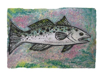 Louisiana Speckled Trout, Louisiana fishing and seafood- PRINT MATTED to 11x14