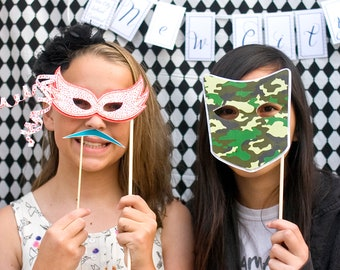 Masquerade Printable PHOTO BOOTH PROPS - Editable Text  >> Instant Download   Paper and Cake