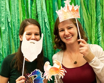 Mermaid   Under the Sea Printable PHOTO BOOTH PROPS - Editable Text >> Instant Download   Paper and Cake