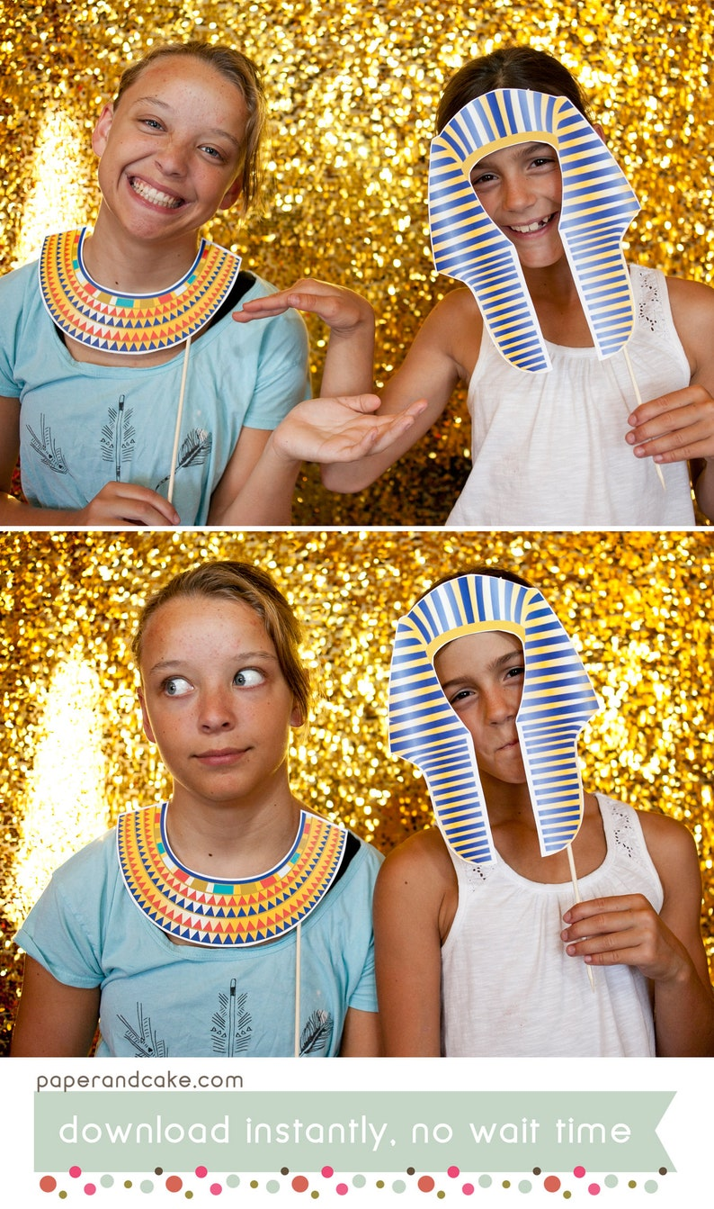 edd43d6837 Egyptian King Tut and Queen Nefertiti Printable PHOTO BOOTH | Etsy