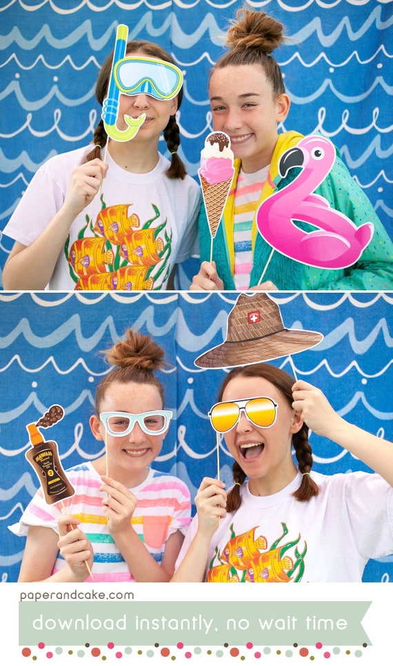 diy photo set for pool party PRINTABLE PHOTO BOOTH props for a pool party