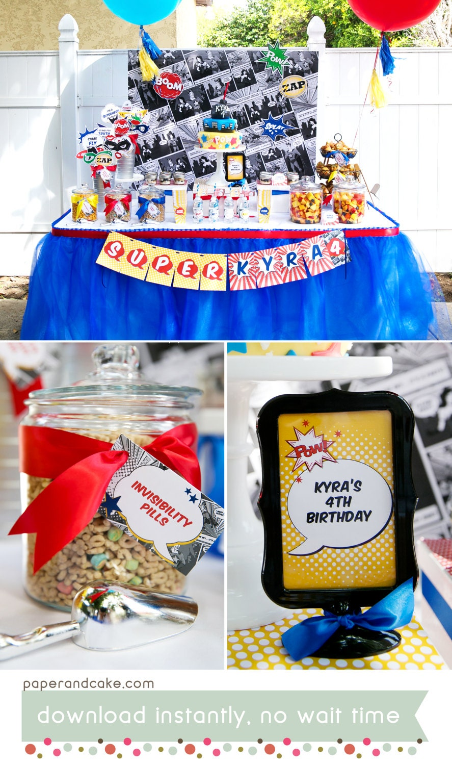 Super Comic Book Hero Birthday PRINTABLE Party Decorations