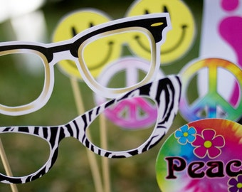 60s Groovy Peace Printable PHOTO BOOTH PROPS - Editable Text >> Instant Download   Paper and Cake
