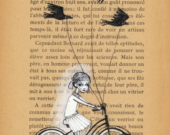 Girl Biking with Birds - Book Pages illustration, Pen and paint, birds as pets, edward gorey, print 5x7