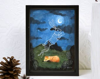 Sleeping Red Fox, Dreaming of Hare, 5 x 7 PRINT, Rabbit Ghost, Moonlight, The Hunt, Animal dreams, Art Illustration, Watercolor Painting