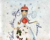 Winter Princess, Watercolor Illustration, Queen of Season, Mother Earth, Calligraphy, Art Print, 8x10