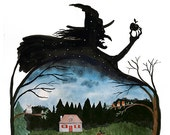 Watercolor illustration - Snow white vs Witch, Fairy tale, Silhouette, Print 8x10