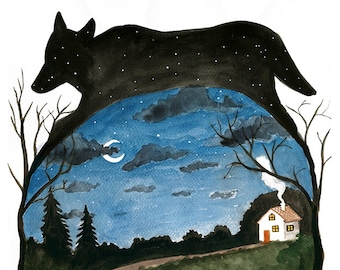 Little Red Riding Hood and Wolf, Watercolor illustration, Print 11x14, wolf silhouette