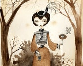 8x10 Victorian Lady with Bird Cage - Fairytale Art Print, Sepia Watercolor and Ink illustration