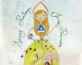 Art Print - Spring Season Princess, Woman, Watercolor Painting, Calligraphy 8x10