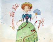 8x10 PRINT Watercolor Illustration - Summer Princess, Queen of Season, Mother Earth, Hand writing, Calligraphy