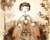 Birdcage skirt, Fantasy Fashion 1850s - Watercolor illustration, Print 8x10, Sepia Vintage Fashion Plate