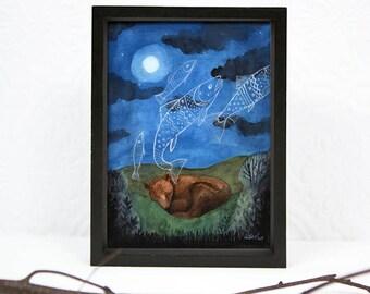 Sleeping Bear, Dreaming of Fish, 5 x 7 PRINT, Moonlight, Night Sky, Dreaming of Food, Animal dreams, Art Illustration, Watercolor Painting