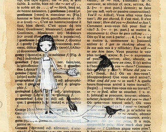 Little Girl Feeding Birds - Walking Crows, Black Birds, Black and White, Dictionary page, print 5x7