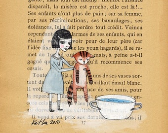 Bath time - Book Page illustration, Pen and paint, unhappy cat, victorian girl, print 5x7