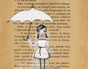 Little Girl in the Rain Illustration - Book Page, Umbrella. Black and White, French text print 5x7