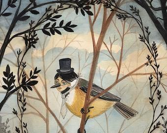 Gentleman Bird - 5x7 PRINT, Dark trees, Branch Framing, Victorian Gentleman, Art Illustration, Vintage Photographs, Elegant Wildlife
