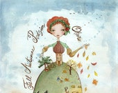 Fall Princess - PRINT Watercolor Illustration, Queen of Season, Mother Earth, Calligraphy, 8x10