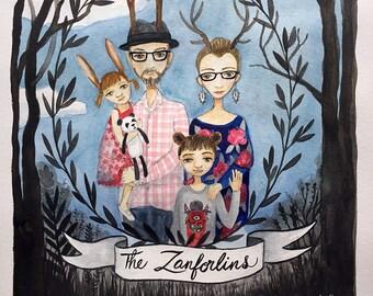 Custom Family Portrait, Watercolor Painting, Wedding Gift, Anniversary Present, Memory Keepsake, Loved ones, remember