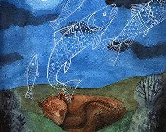 Bear Dreaming of Fish - 8 x10 PRINT, Hungry, Dreaming of Food, Animal dreams, Art Illustration, Watercolor Painting, Moonlight, Night Sky