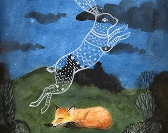 8 x10 PRINT -  Fox dreaming of Rabbit, Animal dreams, Art Illustration, Watercolor Painting, Imagination, Moonlight, Night Sky