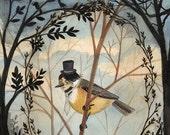 Gentleman Bird - 8x10 PRINT, Dark trees, Branch Framing, Victorian Gentleman, Art Illustration, Vintage Photographs, Elegant Wildlife