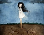 Well Grounded Girl - Lonely Fairytale, Art Print 8x10 , Watercolor illustration, Tree, Roots, Dark Night, Gloomy, Curse