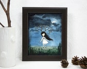 Girl with Antler Branches - Lonely Fairytale, Art Print 8x10 , Watercolor illustration, Dark Night, Gloomy, Curse