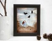Print 8x10 - Watercolor illustration, the birds, victorian girl walks pets, perculiar children