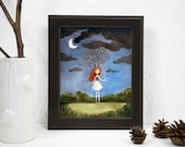 Red Headed Girl, Branches as Anters, Cursed & Alone, Waiting for Birds, Art PRINT, Fairy tale, Illustration, Watercolor Painting 8x10