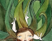 Art Print -  Watercolor Illustration, Girl with Flowing Hair and Rabbits, Fairytale 8x10