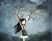 PRINT 8x10 - Girl with Branches - Lonely Fairytale Art Print, Watercolor illustration, night, dark, gloomy
