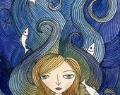 Art Print - Girl with Fish, Hair ocean waves, Watercolor illustration Open Edition