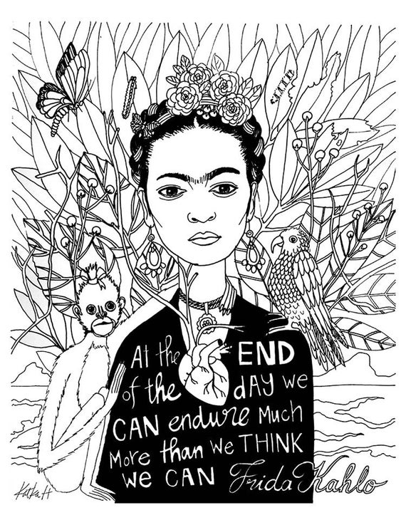 - Frida Kahlo Coloring Book Page Black And White LineArt Etsy