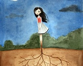 Girl with Roots - PRINT 8x10, Lonely Fairytale Art Print, Watercolor illustration, night, dark, gloomy