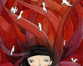 Art Print Illustration Watercolor - Girl with Birds, Open Edition