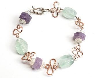 Handmade copper links and sterling silver wire wrapped fluorite and amethyst gemstones,
