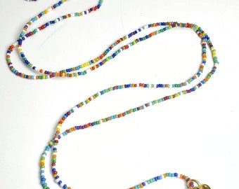 """Long beaded hippie boho hammered heart opalite heart necklace 44"""" long layered look multicolored seed beads"""