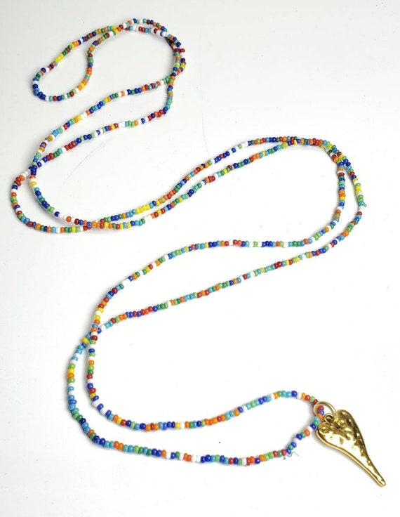 "Long beaded hippie boho hammered heart opalite heart necklace 44"" long layered look multicolored seed beads"