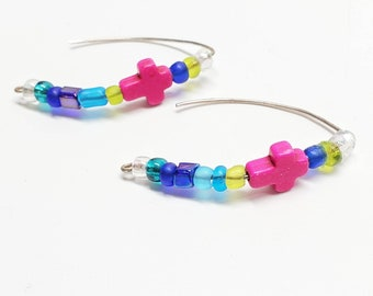 Sterling silver handmade Christian thread earrings cross hot pink and glass beads