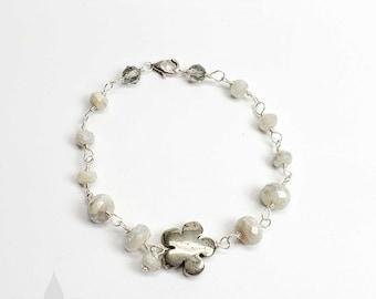 Sterling silver handmade silverite gemstone and hematite flower Bracelet