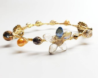 Wire wrapped flower crystal and freshwater pearls bangle bracelet gold plated handmade one of a kind bourbon and boweties inspired