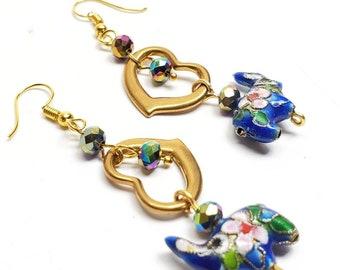 Vintage brass heart and elephant enamel earrings