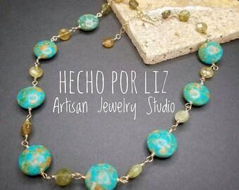 blue jasper and green garnet 14k gold filled necklace one of a kind