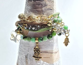 Wrap Beaded Boho bracelet, green and gold theme color graduation gift multi strand faux suede and brass chain