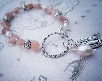 Lady of Guadalupe beaded sunstone bracelet, faith,  virgin mary