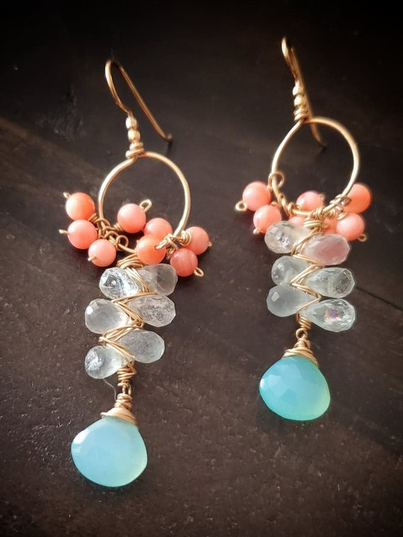 chalcedony drops, aquamarines and coral gold filled earrings one of a kind, gift for mom, dangle earrings women, earrings handmade, gift